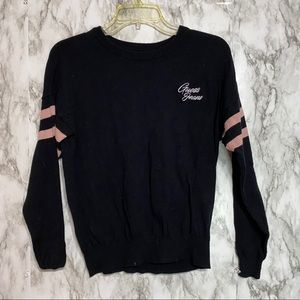 Guess Jeans Black Sweater pink stripes spell out